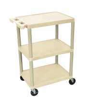 Luxor STC222P - Plastic 3 Shelf Utility Tub Cart - Putty