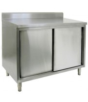 "16"" X 60"" Stainless Steel Cabinet - Sliding Doors - w/ Backsplash"