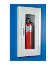 Universal  A116  - Strike First Semi-Recessed Fire Extinguisher Cabinet for 10# Fire Extinguisher - Full Glass Door and Radius Corners