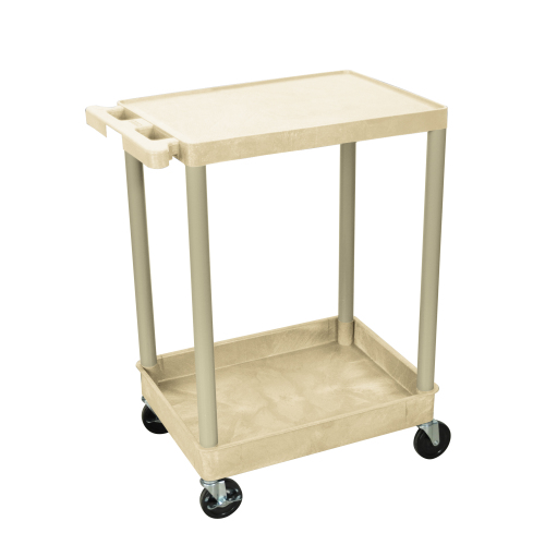 Luxor - STC21P - Plastic 2 Shelf Utility Tub Cart - Putty