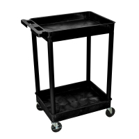 Luxor - STC11B - Plastic 2 Shelf Utility Tub Cart - Black