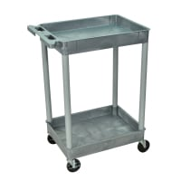 Luxor - STC11G - Plastic 2 Shelf Utility Tub Cart - Gray