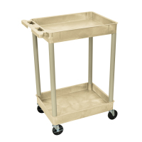 Luxor - STC11P - Plastic 2 Shelf Utility Tub Cart - Putty