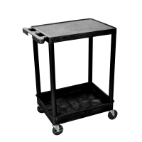 Luxor - STC21B - Plastic 2 Shelf Utility Tub Cart - Black