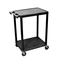 Luxor - STC22B - Plastic 2 Shelf Utility Tub Cart - Black