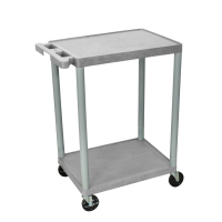 Luxor - STC22G - Plastic 2 Shelf Utility Tub Cart - Gray