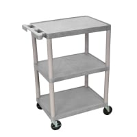 Luxor - STC222G - Plastic 3 Shelf Utility Tub Cart - Gray