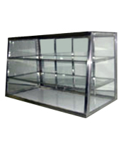 "Carib 2T - 3 Compartment Tapered Front Display Case 10"" x 24"""