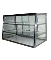 "Carib 4T - 3 Compartment Tapered Front Display Case 12"" x 28"""