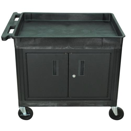 Luxor - TC12CB - Plastic 2 Shelf Utility Tub Cart w/ Cabinet- Black