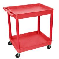 Luxor - TC11RD - Plastic 2 Shelf Utility Tub Cart - Red