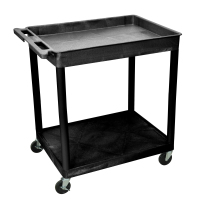 Luxor - TC12B - Plastic 2 Shelf Utility Tub Cart - Black