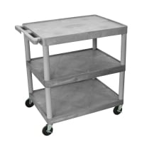 Luxor - TC222G - Plastic 3 Shelf Utility Tub Cart - Gray