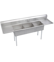 "Universal DD2424-3RL - 124"" Three Compartment Deep Draw Sink W/ Two Drainboards"