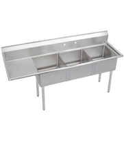 "Universal DD2020-3L - 87"" Three Compartment Deep Draw Sink W/ Left Drainboard"