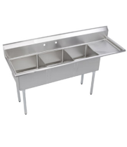 "Universal DD2424-3R - 103"" Three Compartment Deep Draw Sink W/ Right Drainboard"