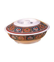 Thunder Group 8010TP - Serving Bowl with Lid - Peacock Collection 63 oz