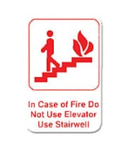 "Thunder Group PLIS6904RD - In Case Of A Fire Do Not Use Elevator Use Stairwell Sign 9"" x 6"" (12 per Case)"