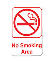 "Thunder Group PLIS6905RD - No Smoking Area Sign 9"" x 6"" (12 per Case)"