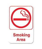 "Thunder Group PLIS6906RD - Smoking Area Sign 9"" x 6"" (12 per Case)"