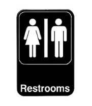 "Thunder Group PLIS6908BK - Restrooms Sign 9"" x 6"" (12 per Case)"