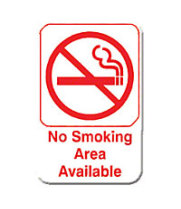 "Thunder Group PLIS6910RD - No Smoking Area Available Sign 9"" x 6"" (12 per Case)"