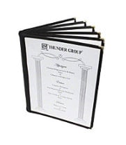 "Thunder Group PLMENU-6TGI - Black Six Page Menu Cover 7-1/2"" x 13-1/4"" (10 per Case)"