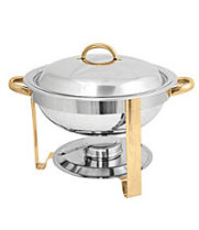Thunder Group SLRCF0831GH - Gold Accented Round Chafer 4 Qt.