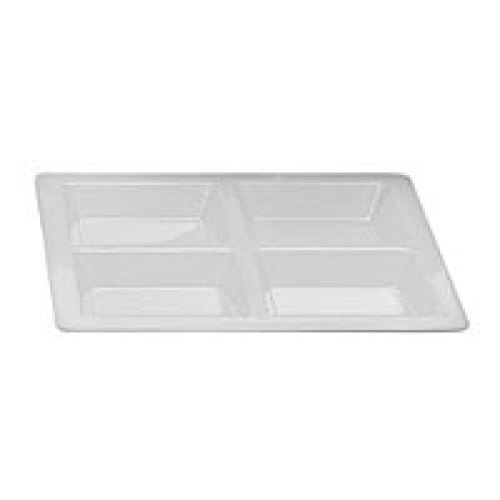 Thunder Group Passion White Rectangular Four Section Compartment Tray (6 per Case) [PS5104W]
