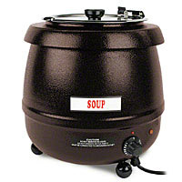 Thunder Group Brown Round Stainless Steel Soup Warmer 10-1/2 Qt. [SEJ32000C]
