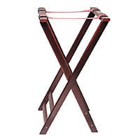 Thunder Group Double Bar Mahogany Finish Rubberwood Tray Stand 33
