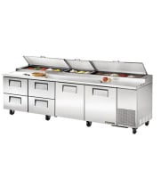 "TrueTPP-119D-4 - 119.5"" Pizza Prep Table 4 Drawers & 2 Doors Holds 15, 1/3 Size Pans"