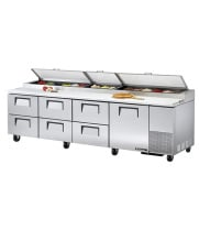 "True PP-119D-6 - 119.5"" Pizza Prep Table 6 Drawers & 1 Door Holds 15, 1/3 Size Pans"