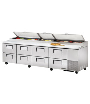 "True TPP-119D-8 - 119.5"" Pizza Prep Table 8 Drawers Holds 15, 1/3 Size Pans"
