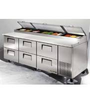 "True TPP-93-D-6 - 44"" Pizza Prep Table 6 Drawers Holds 12, 1/3 Size Pans"