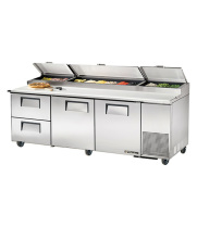 "True TPP-93D-2 - 93"" Pizza Prep Table 2 Drawers & 2 Doors"