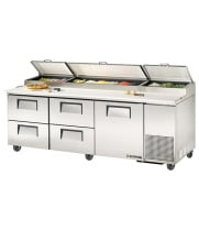 "True TPP-93D-4 - 93.5"" Pizza Prep Table 4 Drawers/1 Door Holds 12, 1/3 Size Pans"