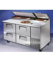 "True TPP67D4 - 67"" Pizza Prep Table 4 Drawers Holds 9, 1/3 Size Pans"
