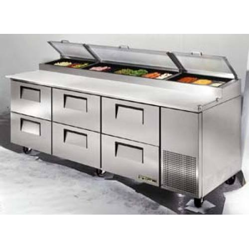 True TPPD Pizza Prep Table Drawers Holds Size Pans - True pizza prep table