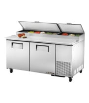 "True TPP-67 - 67"" Pizza Prep Table Two Doors Holds 9, 1/3 Size Pans"