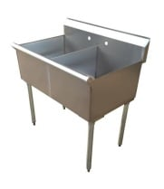 "Universal BS-C2T2118 36"" Two Compartment Commercial Sink"