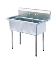 "Universal LJ22424-2-D - 55"" Two Compartment Deep Draw Sink - NSF Certified"