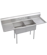 "Universal LJ2020-2RL - 80"" Two Compartment Deep Draw Sink W/ Two Drainboards"