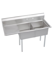 "Universal DD1620-2L - 53"" Two Compartment Deep Draw Sink W/ Left Drainboard"