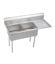 "Universal DD1620-2R - 53"" Two Compartment Deep Draw Sink W/ Right Drainboard"
