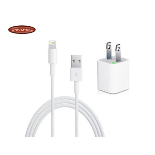 Lightning Cable to USB & Wall Adapter 2 in 1 for iPhone 5 / iPod Touch 5 /  iPad Mini Made by Universal [IP5CW2i1]