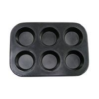 Update International MPNS-6 - 6 Cup - Non-Stick Carbon Steel Muffin Pan