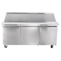 "72"" Three Door Sandwich Prep Table Refrigerator"