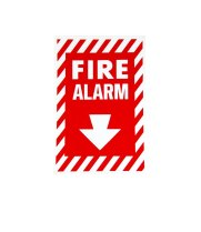 "Universal  472E1204 - White on Red Fire Alarm Adhesive Label with Arrow - 8"" x 13"""