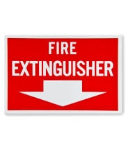 "Universal  472E1103 - White on Red Fire Extinguisher Adhesive Label with Arrow - 12"" x 8"""